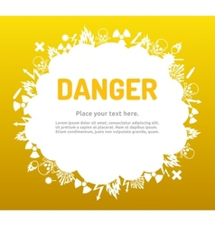 Danger sign set in cloud banner vector image