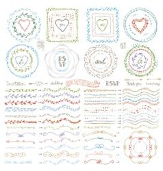 Doodle framebrusheswreath decor setpastel vector