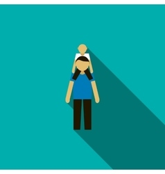 Father with son on his shoulders icon flat style vector image vector image