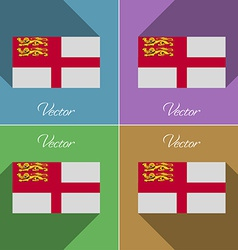 Flags Sark Set of colors flat design and long vector image vector image