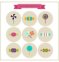 Flat Candy Sweets Treats Icons Set vector image vector image