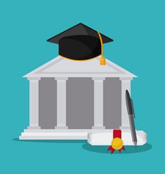 graduation cap diploma building icon vector image