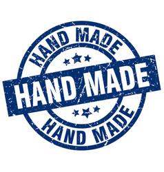 Hand made blue round grunge stamp vector