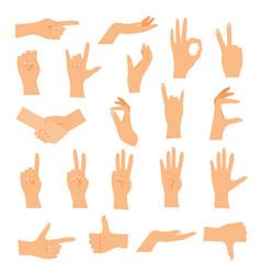 Hands in various gestures flat design modern vector