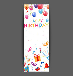 Happy birthday banner with colorful confetti vector