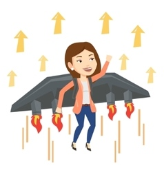 Happy businesswoman flying on rocket to success vector