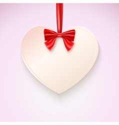 Heart with red bow hanging not tape vector image vector image
