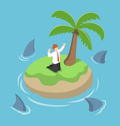Isometric businessman stranded in an island vector image