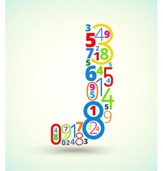 Letter J colored font from numbers vector image vector image