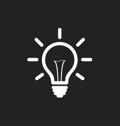 Light bulb line icon on black background idea vector