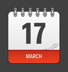 march 17 calendar daily icon vector image