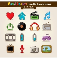 Media Entertainment Web Icons vector image