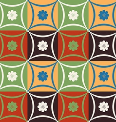 Mosaic tile flower pattern with geometric shapes vector image vector image