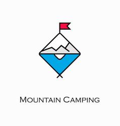 Mountain camping icon vector