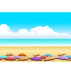 Parasols at the beach vector