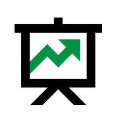 Projector screen green arrow icon vector