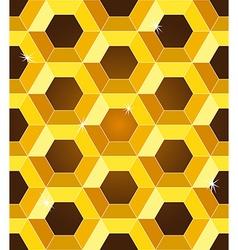 Seamless golden yellow honeycomb pattern vector image vector image