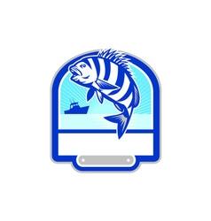 Sheepshead fish jumping fishing boat crest retro vector