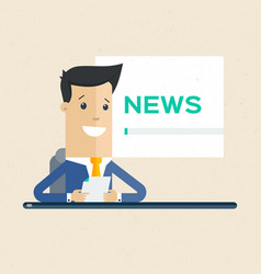 Television news announcer on background tv vector