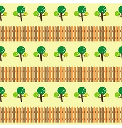 Trees and fence seamless pattern vector