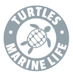 Turtles marine life logo simple gray style vector