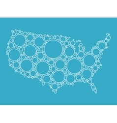 Usa map made of blue bubbles vector