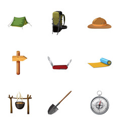 vacation in forest icons set cartoon style vector image vector image