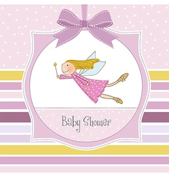 welcome baby girl card with little fairy vector image