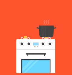 White gas stove with boiling water in pan vector