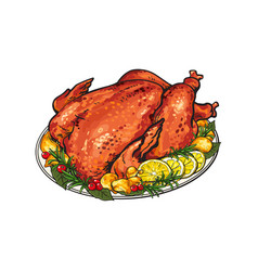 Whole roasted turkey served with lemon and herbs vector