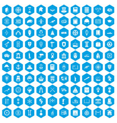 100 history icons set blue vector