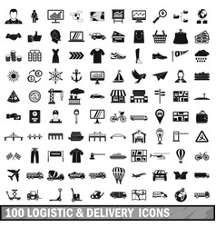 100 logistic and delivery icons set simple style vector image vector image