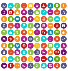 100 national holiday icons set color vector