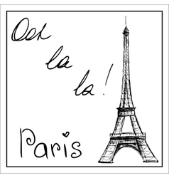 Eiffel tower the word paris on a white vector