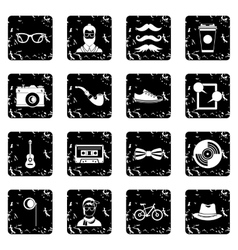 Hipster icons set simple style vector