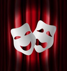 Theater masks with red curtain vector