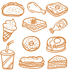 doodle of food and drink style vector image