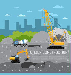 Under construction banner with machinery vector