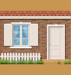 Brick facade with a white window and a door vector