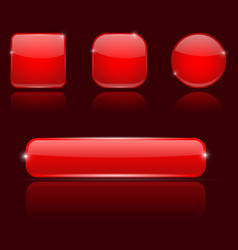 red glass buttons round square and oval shiny vector image