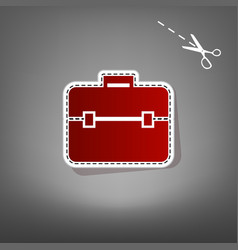 Briefcase sign   red icon with vector