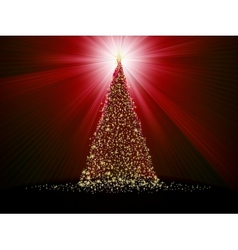 Abstract golden christmas tree on red EPS 10 vector image