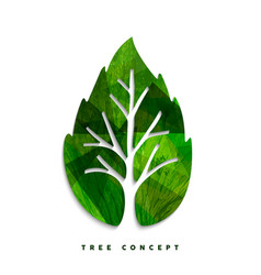 Green tree leaf concept symbol for nature care vector