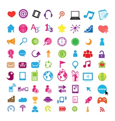 Social color media circles icon network vector