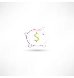 pink pig moneybox vector image