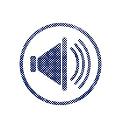 Loudspeaker icon with halftone dots print texture vector