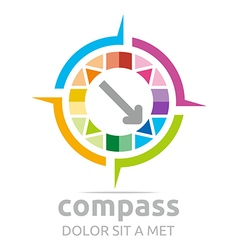 Logo design icon compass direction place abstract vector