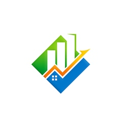 Business finance building arrow logo vector