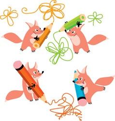 Fox and pencil vector