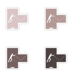 Set of paper stickers on white background sending vector